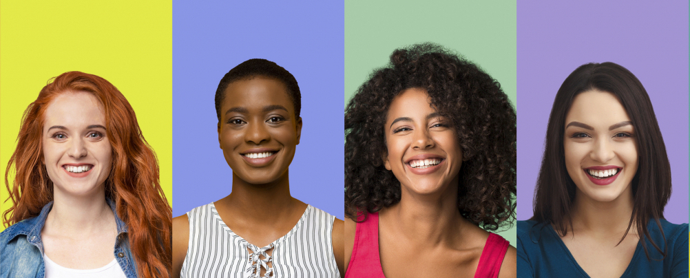 Diverse line of women smiling